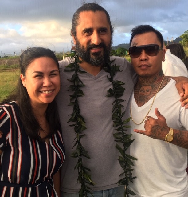 Darcie with NZ Maori actor Cliff Curtis and her partner Harry