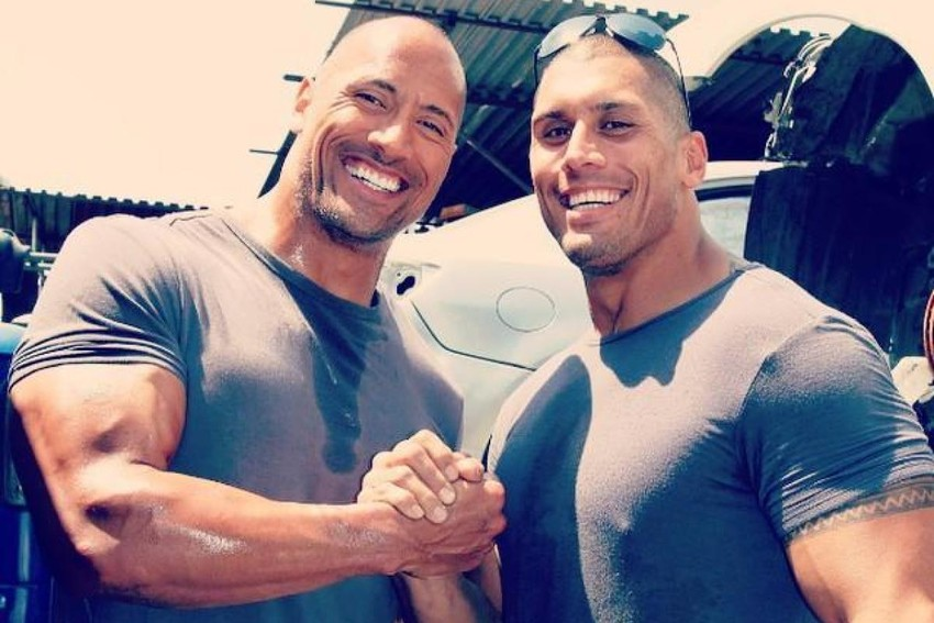 Tanoa'i Reed (R) with the Rock