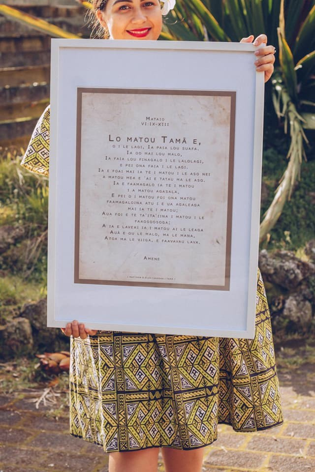 A framed print of the Lords Prayer in Samoan