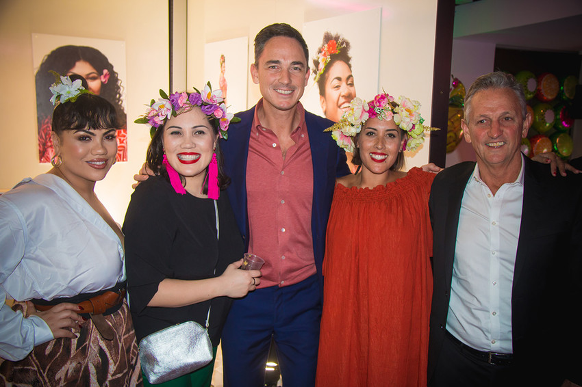 The sisters with Dominic Bowden and friend