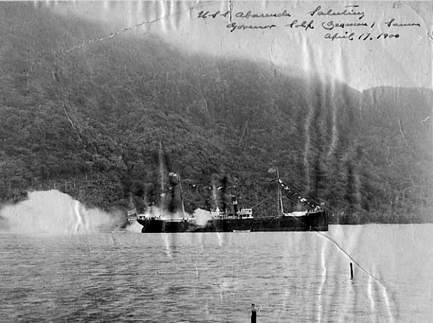 USS. Abarenda on Flag Raising Day, 17 April 1900. Image PH-OL-102-K, courtesy Polynesian Photo Archives, The Dwyer Collection, Feleti Barstow Public Library, American Samoa