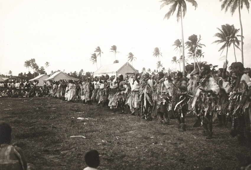 Men and women dancing in a Lakalaka