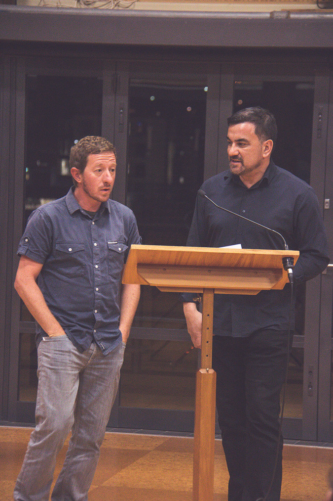 Sebastian Galliot (Left) & Sean Mallon (Right) at the book launch & seminar, Auckland University.
