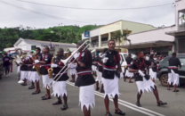 Fijian Police Band dancing in the streets