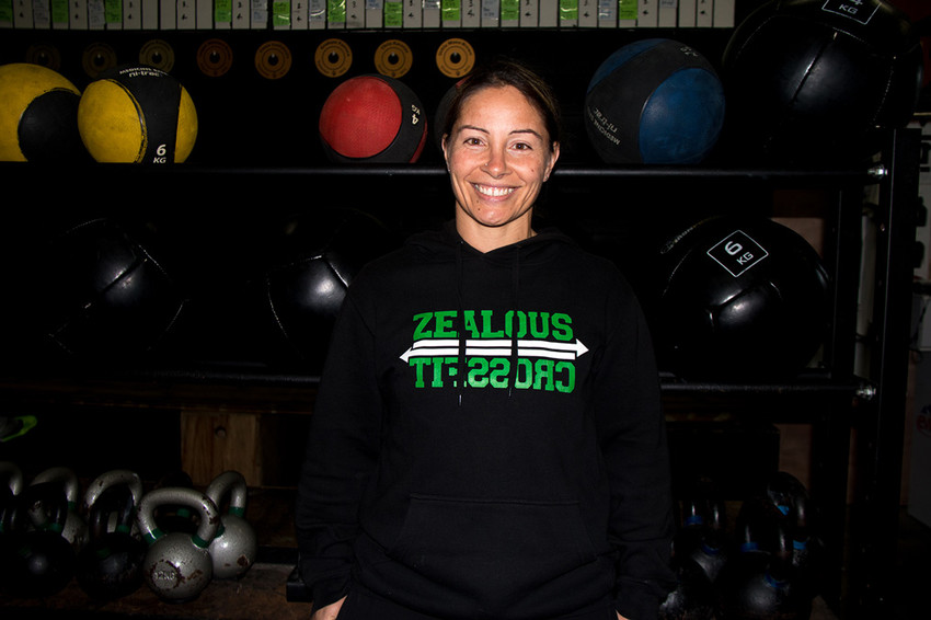 Lorina at Zealous Crossfit gym in Avondale which she co-owns and also coaches a couple of classes at.