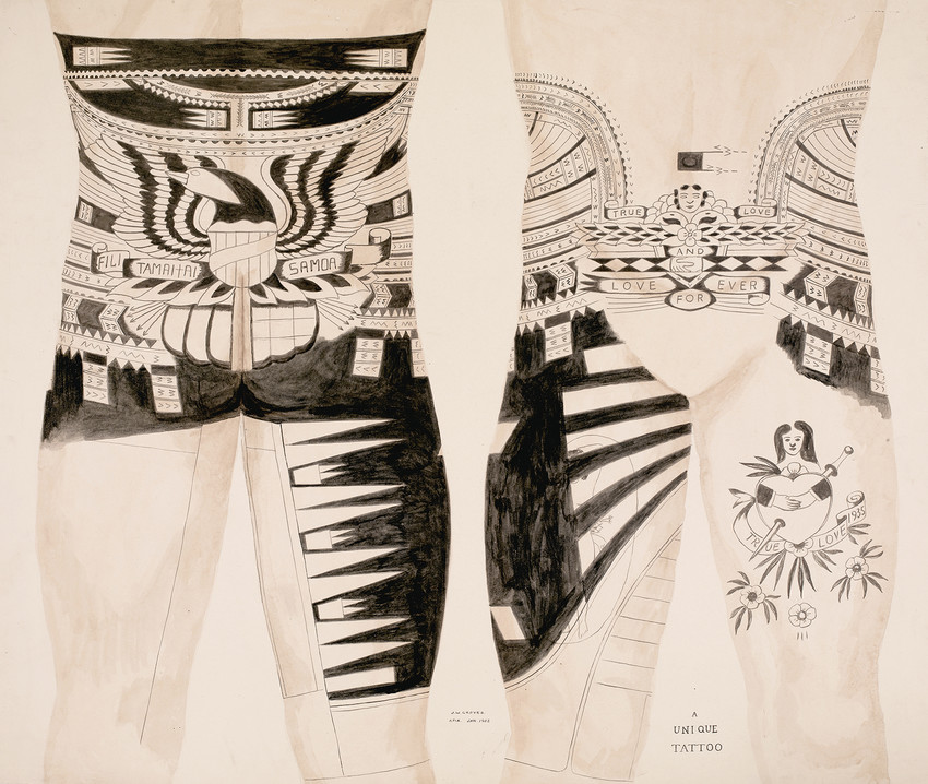 Fig. 44 'There is a strong tendency nowadays to display the American Eagle in a tattoo design actually as the whole or part of the punialo.' Jack W. Groves, A Unique Tattoo, Apia, Sāmoa, 1952. © The Trustees of The British Museum;