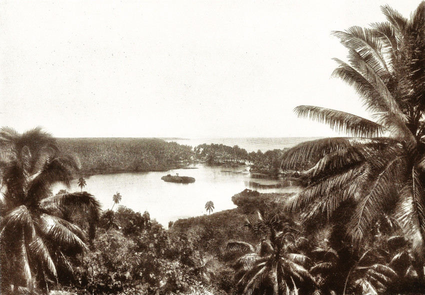 A distant view of Safune, circa 1912. ('Samoa,' by Erich Scheurmann, Serbst-Verlag Erich Scheurmann, Horn in Baden, Germany, 1926).