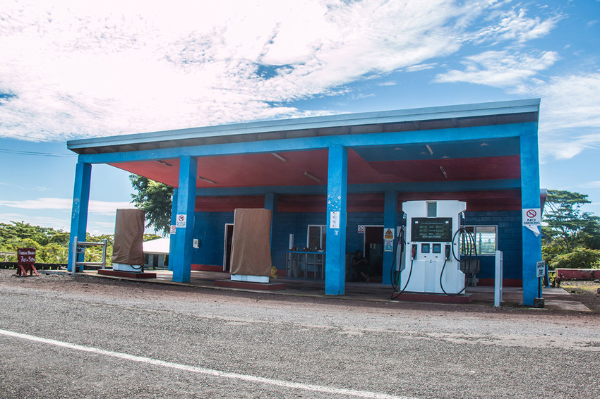 Gas station in Saleaula (village where the lava fields are)
