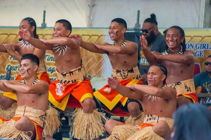 Malachi performing with the St Pauls Samoan Group at Polyfest in 2018