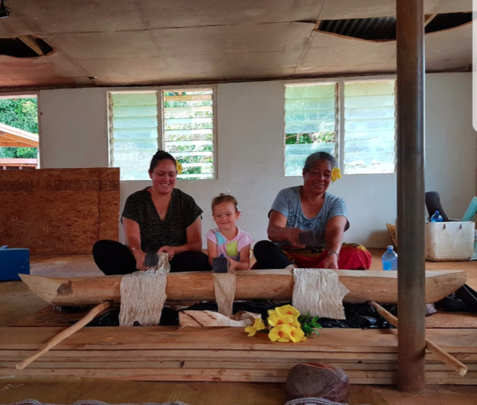 Myself, Aroha my daughter and Sulieti creating hiapo in Falevai, Vava'u
