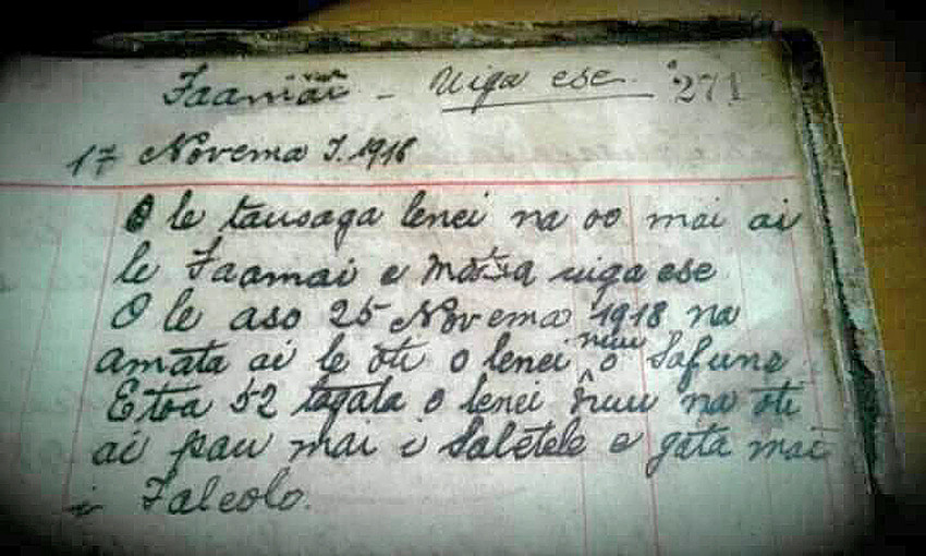 The diary entry of Mamea Taulaga in 1918 which describes 52 deaths across a part of the Safune coastline. (Tigaina Mamea Aurelio-Laupepa Collection).