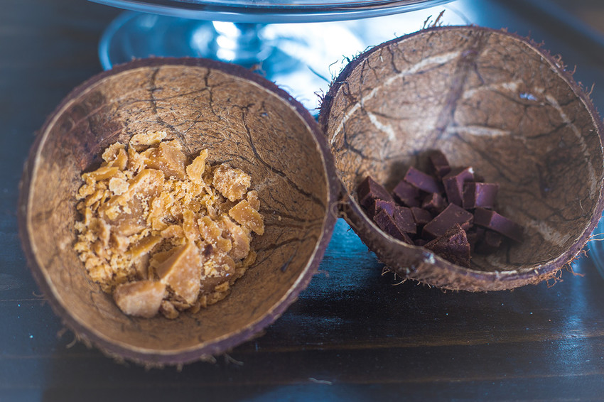 Fudge tasters in Coconut shells