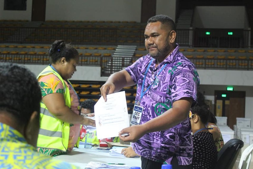 Special votes being tallied by the Office of the Electoral Commission Samoa Photo Credit: OECS