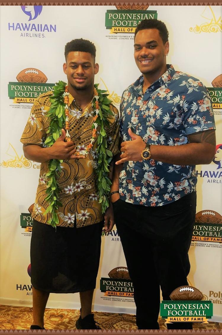 Juju at last years Polynesian Hall of Fame celebration dinner with Baltimore Ravens Offensive Lineman Ronnie Stanley