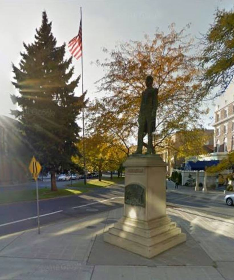 On a corner in Spokane, Washington, there is a statue honouring Ensign John (Jack) Monaghan of the United States Navy.