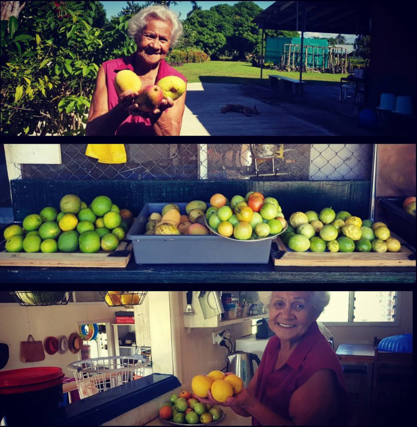 Chloe's grandmother Gina and some of the fruit she supplies 'Whipped'