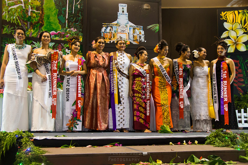 Newly crowned Miss Samoa 2017 with Miss Samoa 2016 and this years contestants