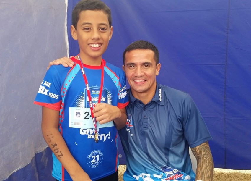 With Weet Bix role model and soccer legend Tim Cahill