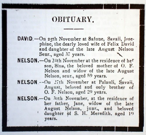 Nelson family obituaries