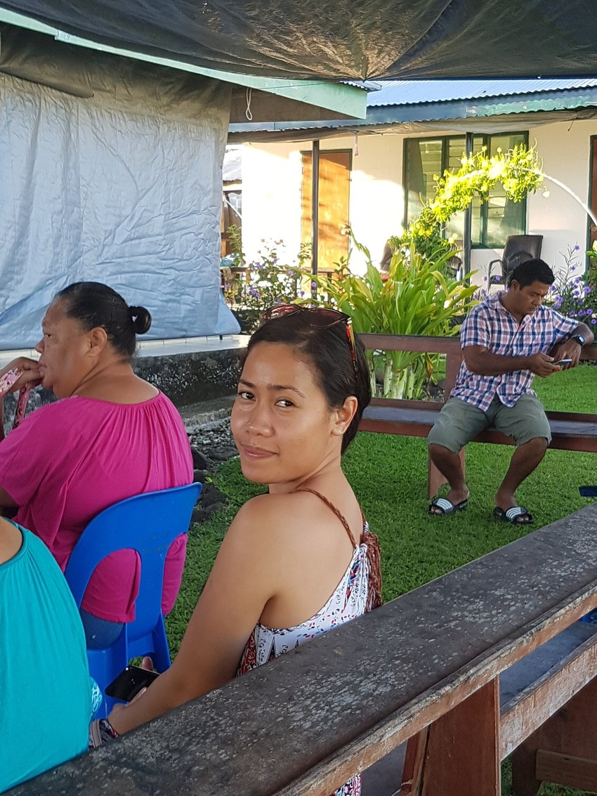 Luanda Epa-Ainu'u ready to vote at the Siusega SDA booth for Faleata 2. Photo credit: Sefo Ainu'u