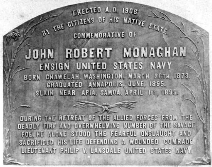 Commemorative headstone of John Robert Monaghan in Washington