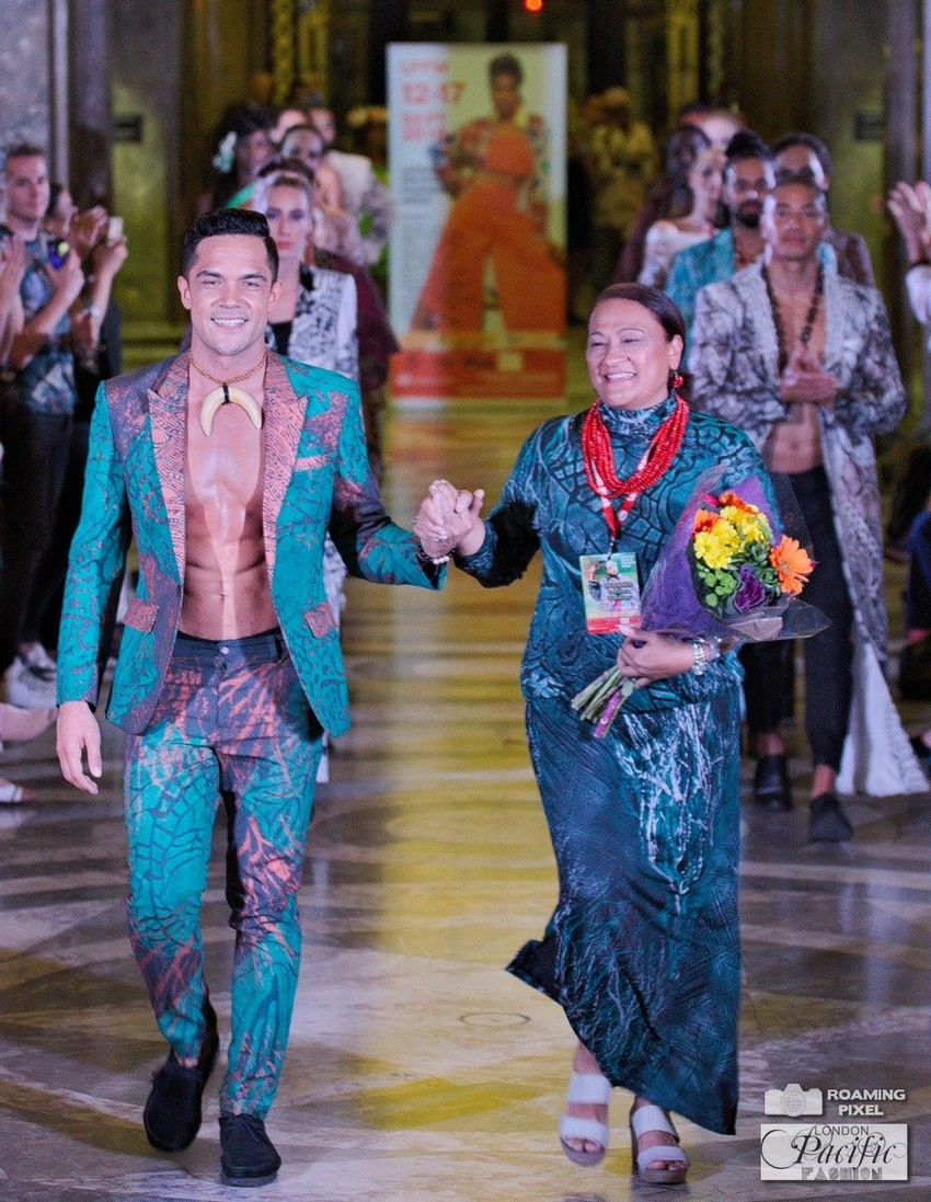 Designer Cecilia Peterson-Keil with Nick Afoa at London Pacific Fashion Week. Photo Credit: Roaming Pixel Photography